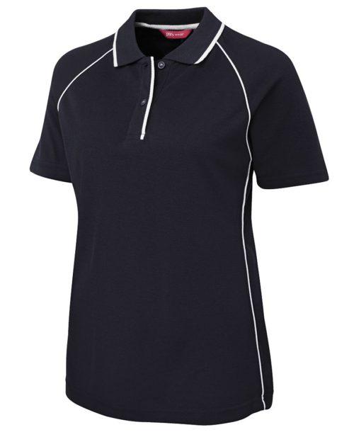 Ladies Raglan Polo Shirt Navy/White