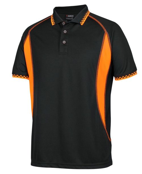 Podium Inset Moto Polo Black/Orange Shirt